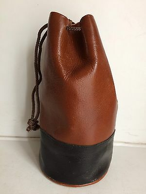 Black & Tan Real Calf Leather Camera Lens Pouch/Bag/Case