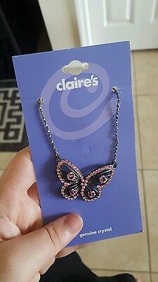 Nwt Girl's Silver Crystal Pink Butterfly Necklace From Claire's