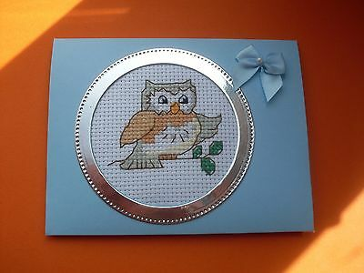 Hand Made Completed Cross Stitch Cards Owl