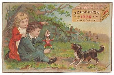 B.T. Babbitt's Soap - Trade Card - Marionette & Puppy - Hatch Lith Co., NY