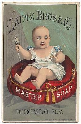 Lautz Bros. & Co. Soap - Trade Card - Baby & Rattle - Chas. Shields Sons Lith Co
