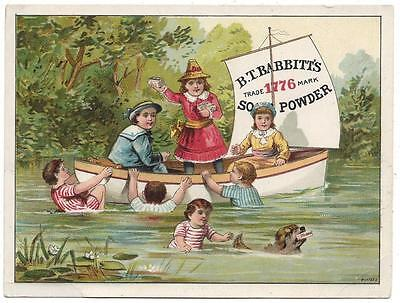 B.T. Babbit's Soap Powder - Trade Card - Sailboat Swimming Hole - Bufford Lith