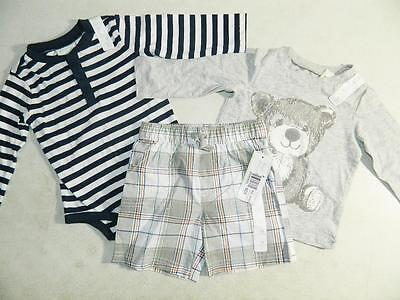 First Impressions Baby Boys Bodysuit / Shirt 3 Piece Set Cotton NWT Size 12M