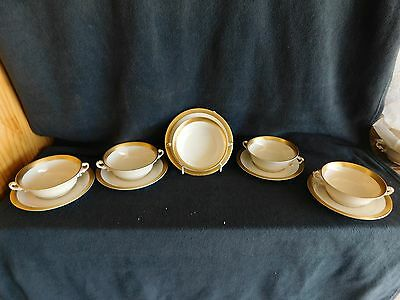 """11 Syracuse China Bracelet """"OLD IVORY"""" Gold Encrusted SOUP BOWL AND SAUCER"""