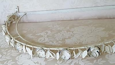 Lrg. Shabby White Tole Metal Canapy Bed Topper / Window Dressing Rod