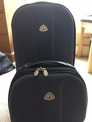Grey Suitcase/Carry-on With Matching Vanity Case