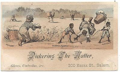 "Pickering The Hatter Trade Card - Black Americana - ""Whoa, Aunty"", Bufford Lith"