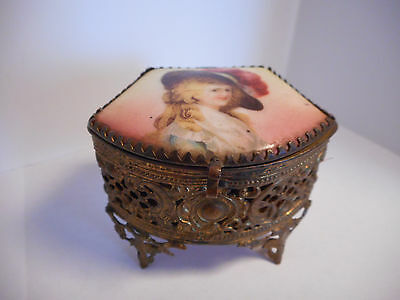 Antique Royal Mfg Co Filigree Jewelry Trinket Box w/ Hand Painted Porcelain Top