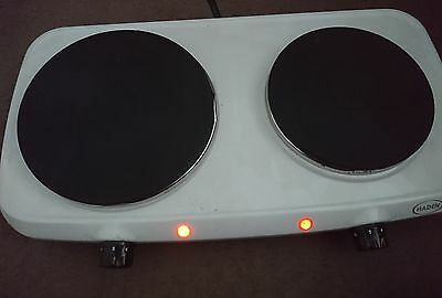 white double twin electric hob hot plate table