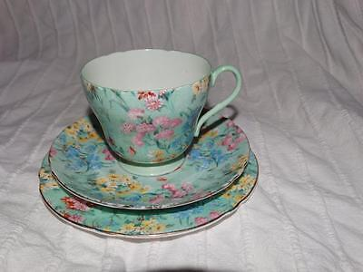"SHELLEY ""MELODY"" CHINTZ DESIGN FINE BONE CHINA TRIO, COLLECTABLE, c1930s."