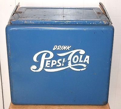 1950s Vintage PEPSI-COLA Blue Metal Progress COOLER, w/Tray & Bottle Opener