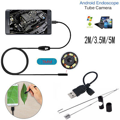7mm Lens Endoscope Inspection Borescope Scope LED Camera For Android Phones UK