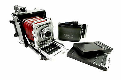 Graflex Century Graphic 2x3 Folding Camera, Red Bellows, Roll & Film Holders