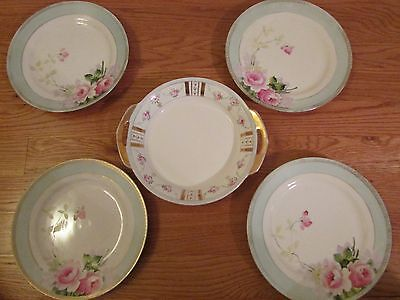 Antique Rose and Gold trimmed dishes and serving plate