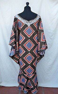 African Wax Print Kaftan  With Embroidered Neckline And Frilled Hem