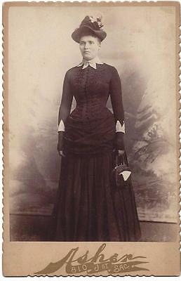 Cabinet Card - Woman with Fancy Hat & Purse - Asher Photography - Sacramento, CA