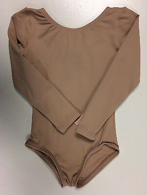 Body Wrappers Girl's Nude Long Sleeve Leotard Size 3-4