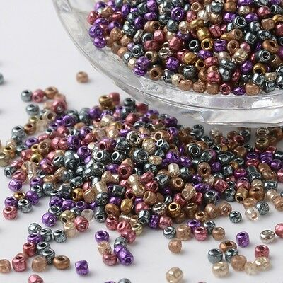 12/0 Iris Round Glass Seed Beads Mixed Color DIY Making 2~3x1.5~2mm 4000pcs/bag