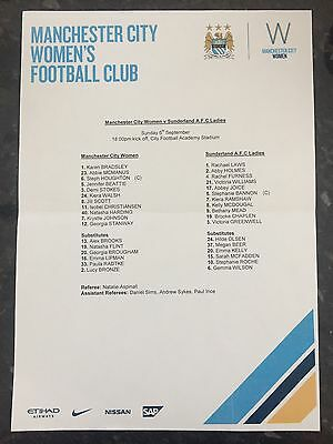 Man City Women V Sunderland Ladies Official Teamsheet ( 06.09.2015 )