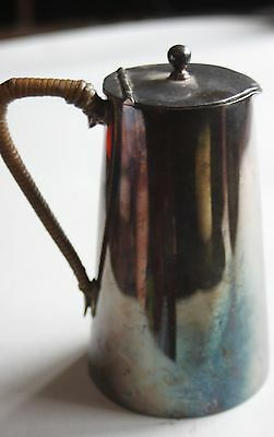 Vintage Silver Plated Hot Water Jug with Lid and Wicker Handle EPNS