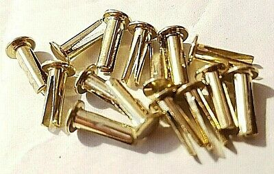 Bifurcated Rivet Brass Plated Split Leg Rivet 10mm Long For Leather And Backs