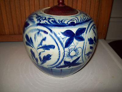 Antique Vintage Chinese blue and white porcelain Ginger Jar  19th Century   8""