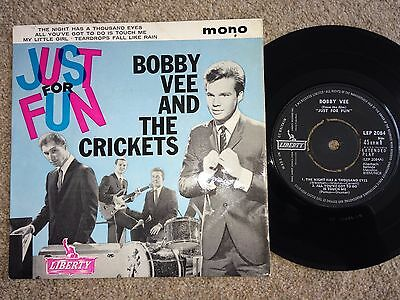 """Bobby Vee And The Crickets Just For Fun Ep 1963 Liberty Vinyl 7"""" Single"""