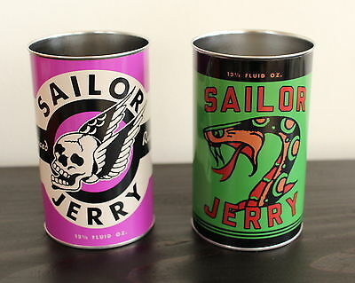 NEW RARE Sailor Jerry Spiced Rum, Purple & Green Metal Tin Cups Set of 2. 13.5oz