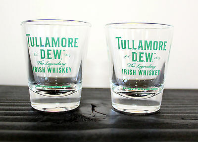 NEW Tullamore DEW Irish Whiskey Set of 2 Glass Shot Glasses