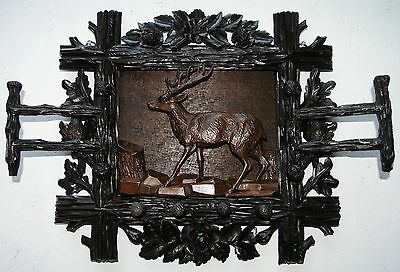 Antique Black Forest Wood Hatrack W. A Carved Stag, Owl&bird