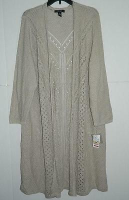 Style&co Women's Plus Cream Open Front Long Cardigan NWT Size 3X WJ848