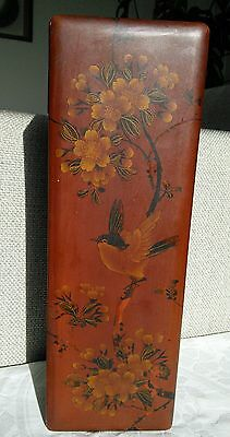 Vintage  Japanese Oriental Red Lacquer Box with Bird and Flowers.