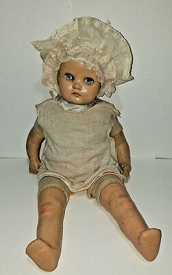 """20"""" Composition & Cloth Baby Doll Sleepy Brown Eyes Glass Brown Hair 1930's"""