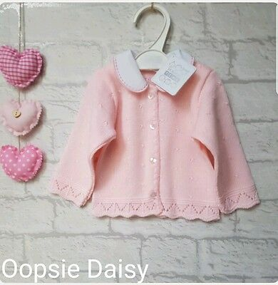 Baby Girls Traditional Style Knitted Pink Cardigan Pretty Collar  ☆