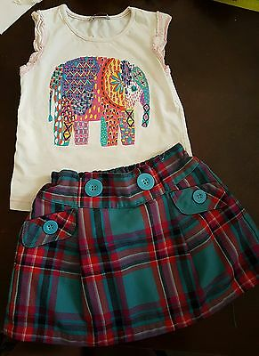 girls 3-4 years elephant vest top & tartan skirt summer clothes outfit next