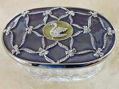 FABERGE Swan Oval Box Enamel Guilloche' Crystal Accents RARE NEW w/COA #687878