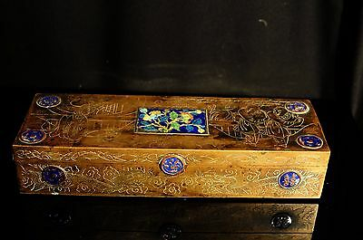 Antique Large Chinese Engraved Brass Box With Enamel Decoration