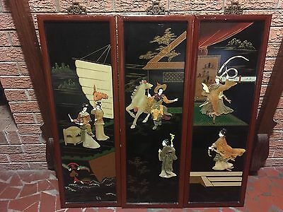 RARE OLD ANTIQUE Chinese Figural Lacquer and Jade Panel