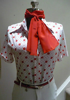 Vintage Sz 12 M Short Sleeve Fitted Blouse White Red Polka Dots Floral Secretary