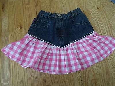 MOSCHINO BAMBINO baby girls blue denim pink gingham hem skirt AGE 2 YEARS