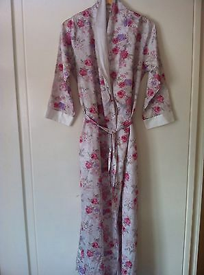 Ladies Summer Silky Floral Dressing Gown Size M (12-14) Vintage