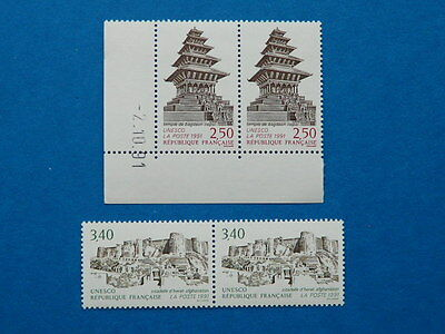 TIMBRES FRANCE SERVICE 1991 Y&T N°108-109 NEUFS ** (2 paires)