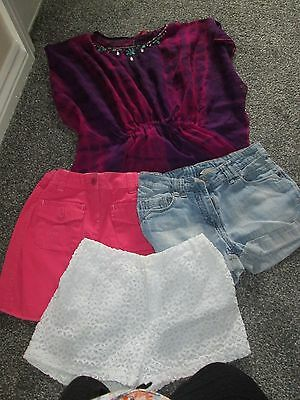 Girls summer clothing bundle age 10-11 years, shorts, skirt, top - 4 items