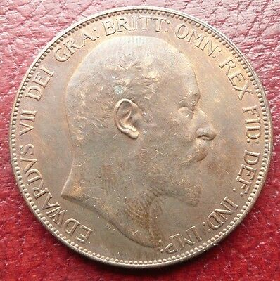 1906 Edward Vii British One Penny Coin - High Grade - See!