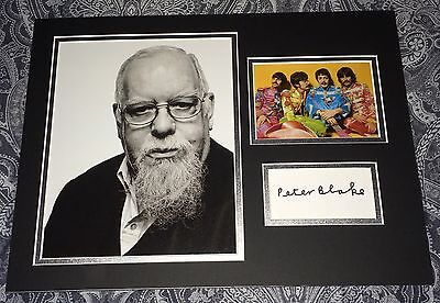 Sir Peter Blake The Beatles Sgt Pepper Hand Signed 16x12 Autograph Display Rare