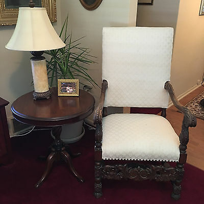 Priced Reduced!!!antique Solid Mahogany Heavily Carved Arm Chair