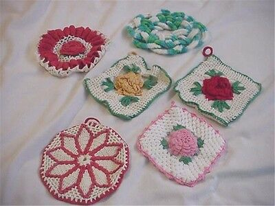 Group of 6 Vintage Crochet Pot Holders Hot Pads & Bowl Cover? Flowers Cuteness!