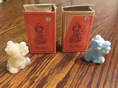 Mosser Glass Pee Wee Clowns F and  G Tab And Baby Blue With Boxes