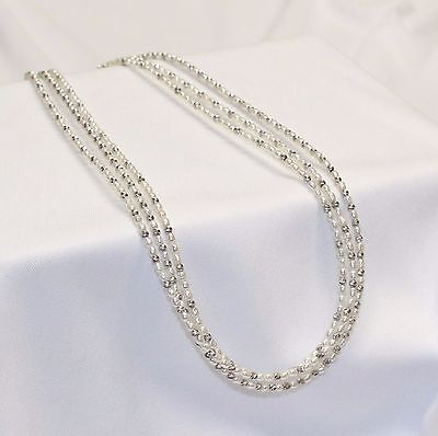 "Vintage 3 Strand Tiny Pearl & Sparkle Diamond Cut Bead Necklace 17"" Sterling"