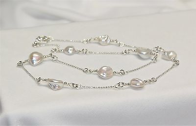 "Honora 9mm  White Keshi Pearl Station Necklace Beaded 17"" Sterling Silver"